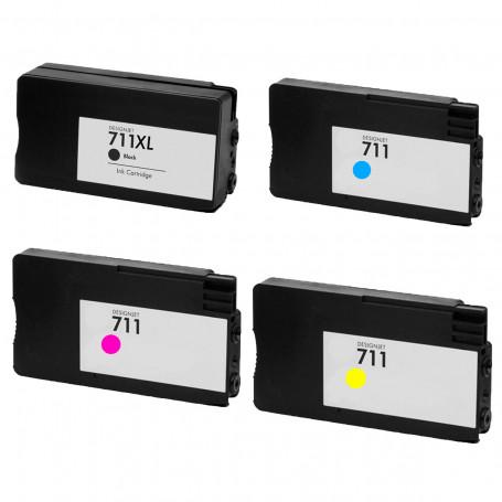Cartucho de Tinta Compatível com HP 711 CZ133A CZ132A CZ130A CZ131A | T120 T520 CQ890A CQ891A CQ893A