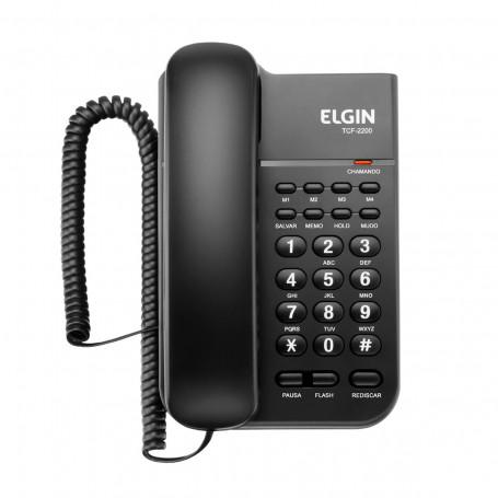 Telefone com Fio Elgin TCF2200 com Chave de Bloqueio, Flash e Hold | Preto