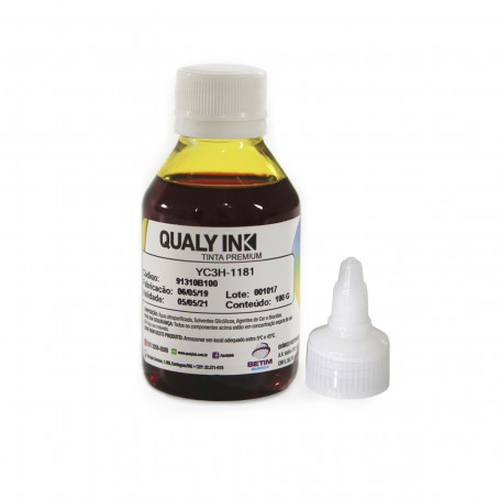 Tinta HP Corante Amarelo Universal com Bico Aplicador   Qualy Ink 100g