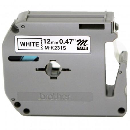 Fita Rotulador Brother 12mm M231 Preto/Branco | Original